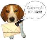 Beagle Emma überbringt die Botschaft mit einem Brief und sagt 'Botschaft für Dich!'