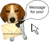 Beagle Emma delivers the message with letter and says 'Message for you!'